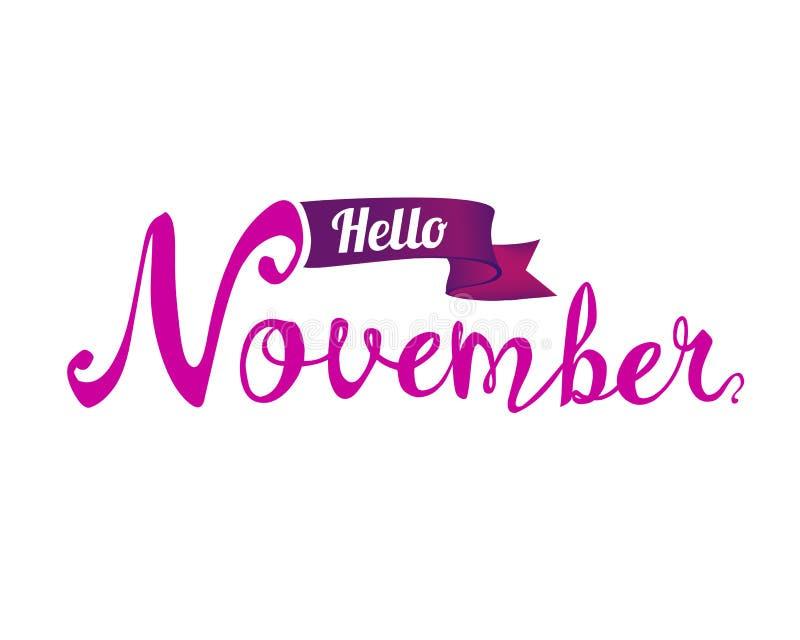 Olá! novembro Palavra escrita da mão ilustração stock