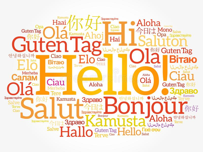 Olá! nuvem da palavra em línguas diferentes ilustração stock