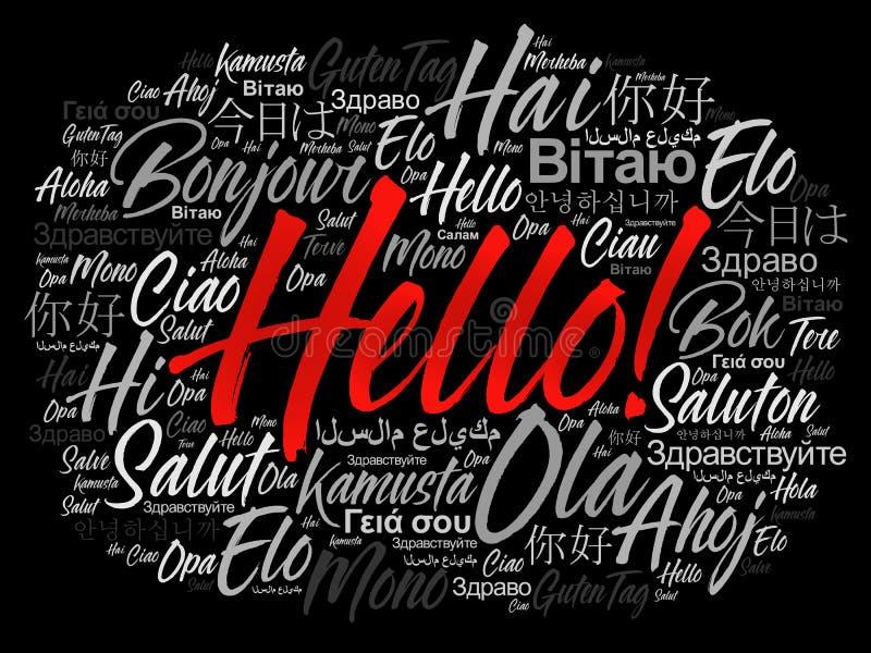 Olá! nuvem da palavra em línguas diferentes ilustração do vetor