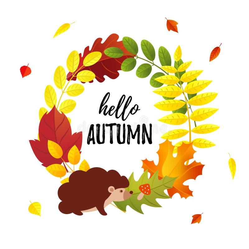Olá! o cartão bonito do outono com folhas de outono envolve-se e estilo liso do ouriço dos desenhos animados ilustração do vetor