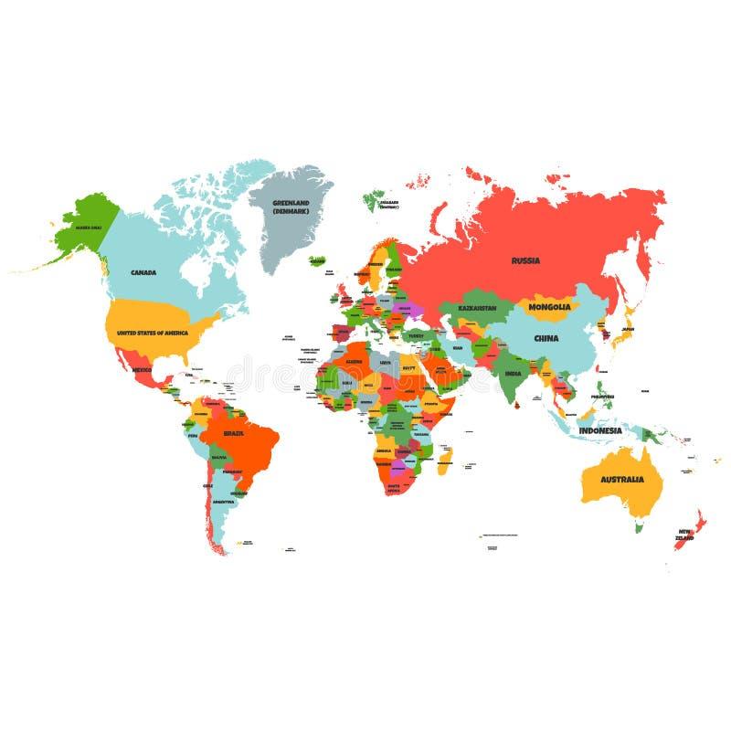Olá! o mapa do mundo detalhado colorido do vetor completo com todos os países nomeia - o vetor ilustração royalty free