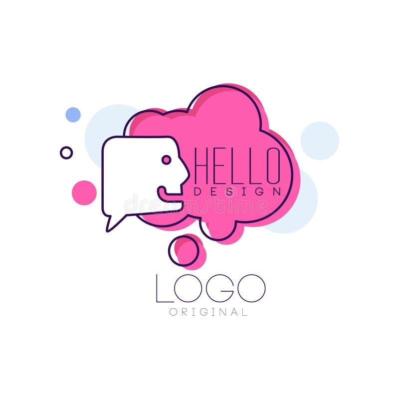 Olá! o projeto original do logotipo, o crachá cor-de-rosa com olá! palavra, a bolha da mensagem e a nuvem vector ilustrações em u ilustração stock