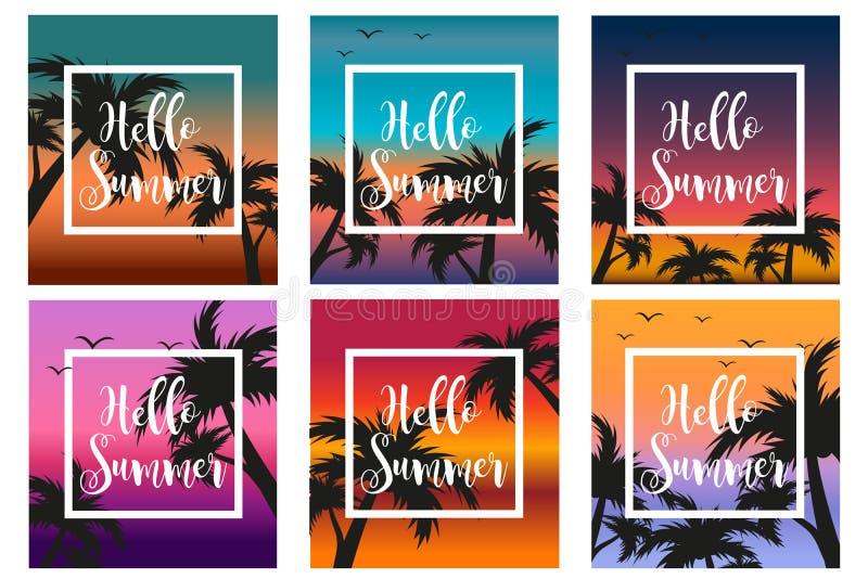 Olá! o verão ajustou o molde para o cartaz em um quadro branco em um fundo do por do sol e das palmeiras Conceito da praia ilustração do vetor
