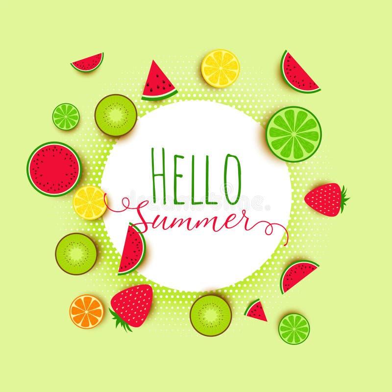 Olá! o verão frutifica fundo da bandeira ilustração do vetor