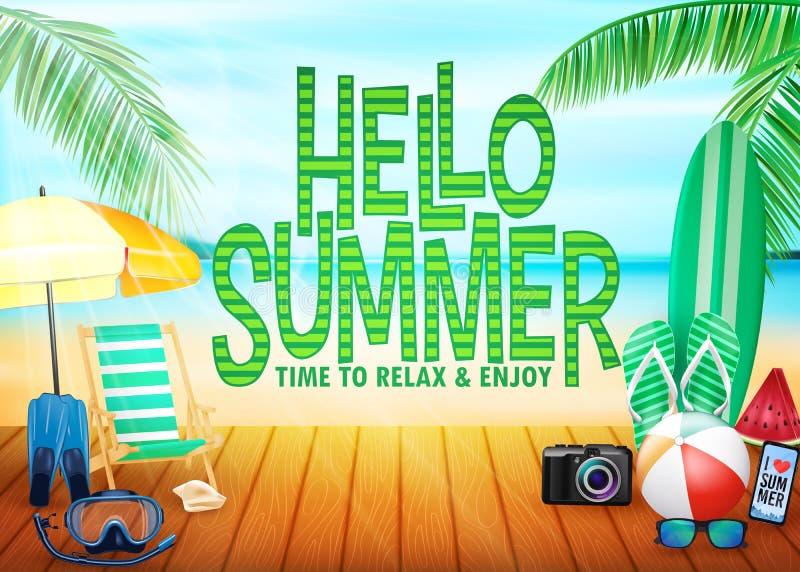Olá! opinião com palmeiras, guarda-chuva do recurso do litoral da paisagem do cartaz do verão, banco, Mas ilustração do vetor