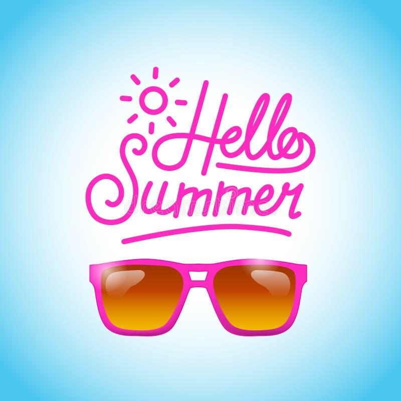 Olá! os vidros cor-de-rosa tropicais do verão encalham relaxam a bandeira do feriado ilustração stock