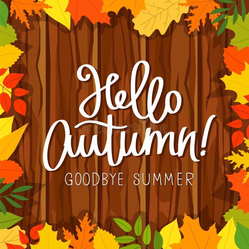 Olá!, outono Adeus, verão ilustração stock