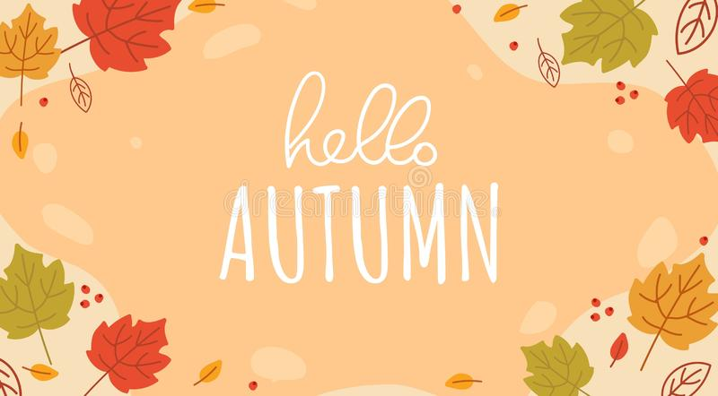 Olá! outono que rotula o cartão do vetor fotos de stock royalty free