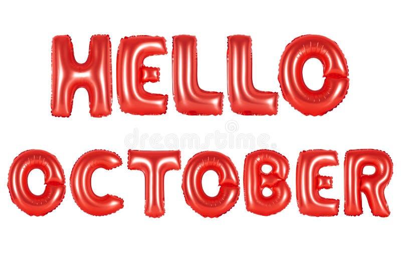 Olá! outubro, cor vermelha fotos de stock