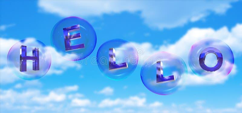 Olá! a palavra na bolha ilustração royalty free