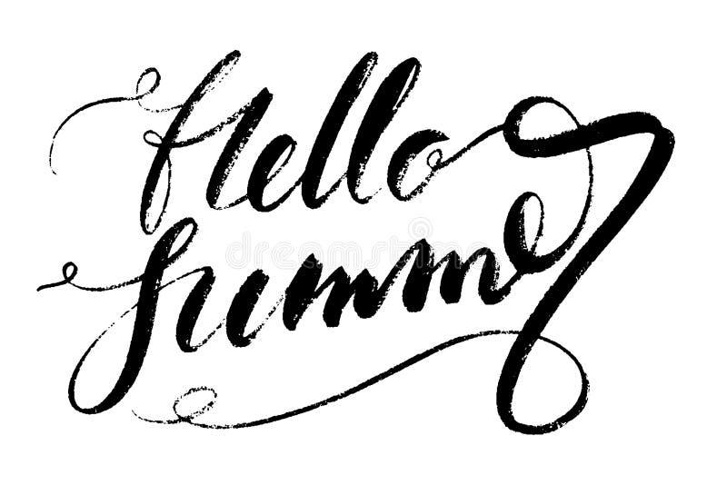Olá! palavras do verão Entregue a caligrafia criativa tirada e escove a rotulação da pena, projeto para cartões do feriado e ilustração royalty free