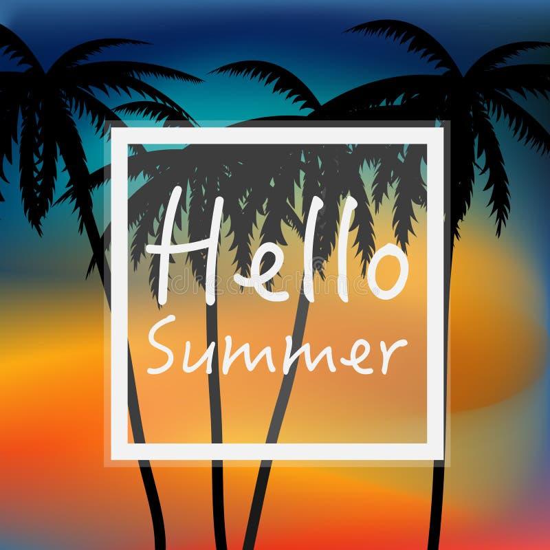Olá! papel de parede do verão com palmeiras e por do sol ilustração do vetor