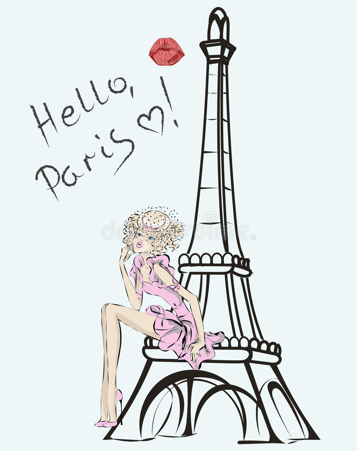 Olá!, Paris Menina da forma perto da torre Eiffel ilustração royalty free