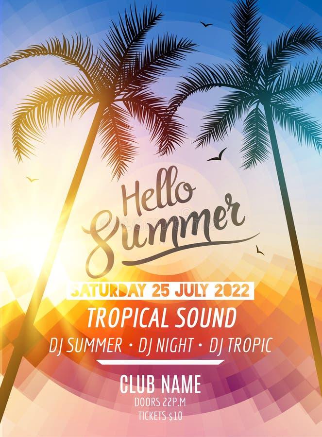 Olá! partido da praia do verão Férias e curso tropicos do divertimento do verão Fundo colorido e palma do cartaz tropical exótico ilustração stock