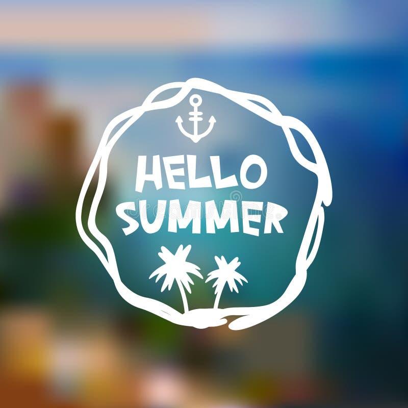 Olá! projeto de cartão do verão, ilha da montanha da praia do molde da bandeira no fundo azul do borrão do oceano do mar das onda ilustração do vetor