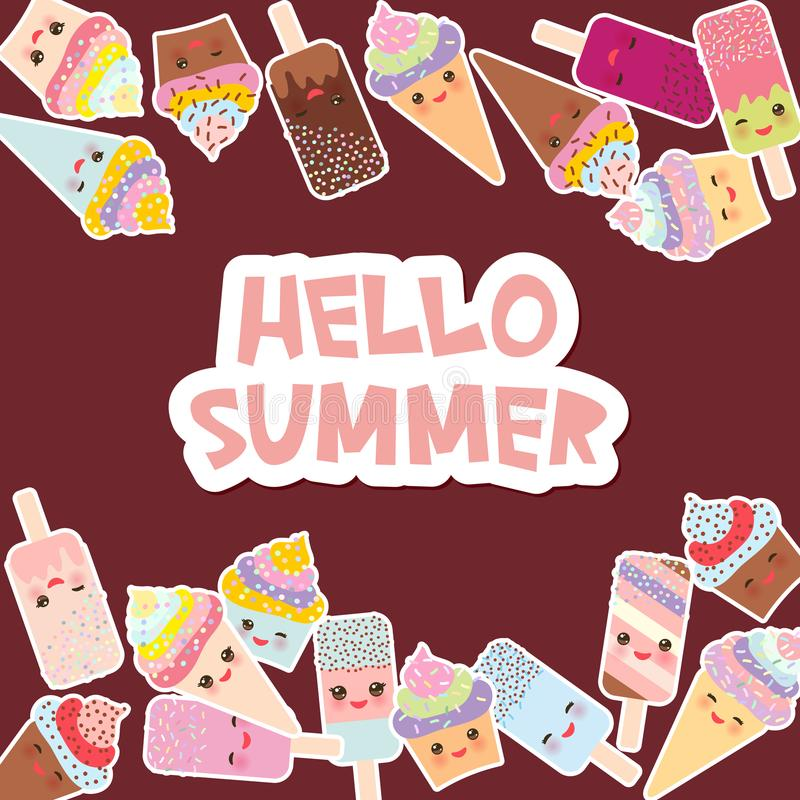 Olá! projeto de cartão do verão para seu texto queques com creme, gelado em cones do waffle, lolly de gelo Kawaii com mordentes c ilustração do vetor