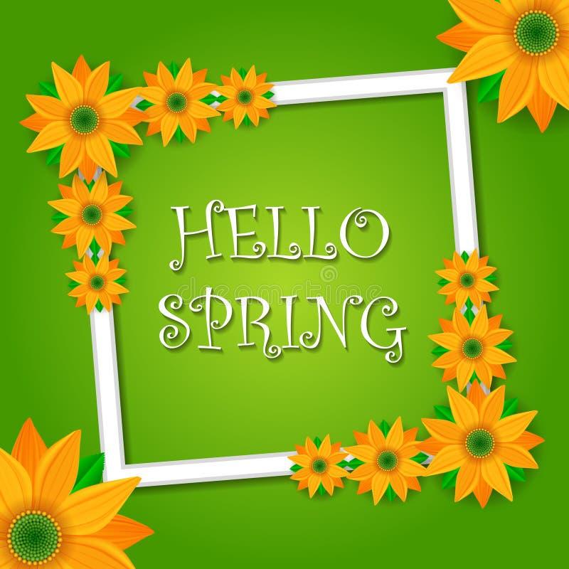 Olá! projeto de cartão verde da mola com flores e texto no quadro quadrado, elemento do projeto de rotulação ilustração do vetor