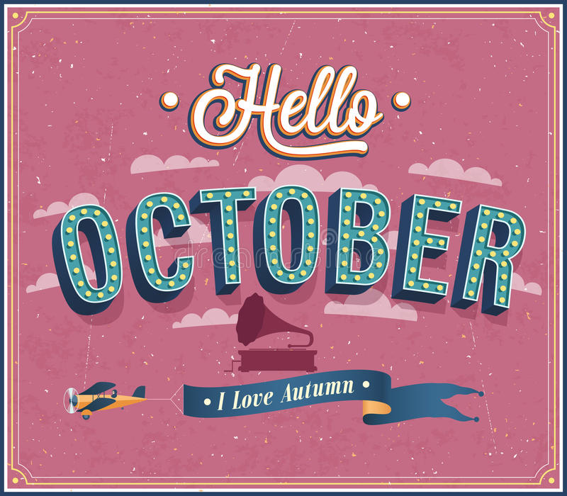 Olá! projeto tipográfico de outubro. ilustração do vetor