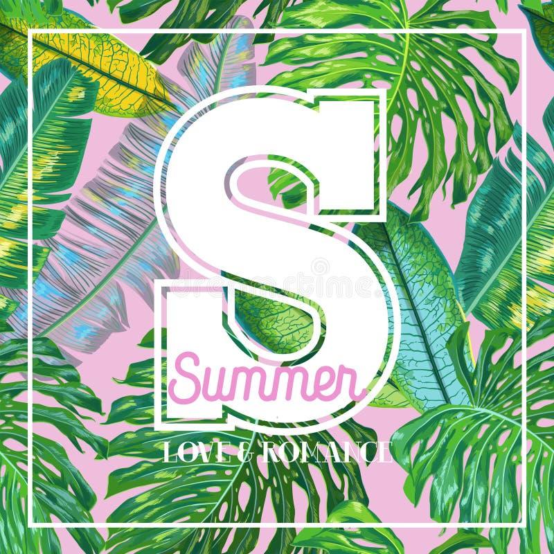 Olá! projeto tropical do verão com folhas de palmeira Bandeira do cartaz das férias da praia O trópico planta o fundo floral para ilustração royalty free