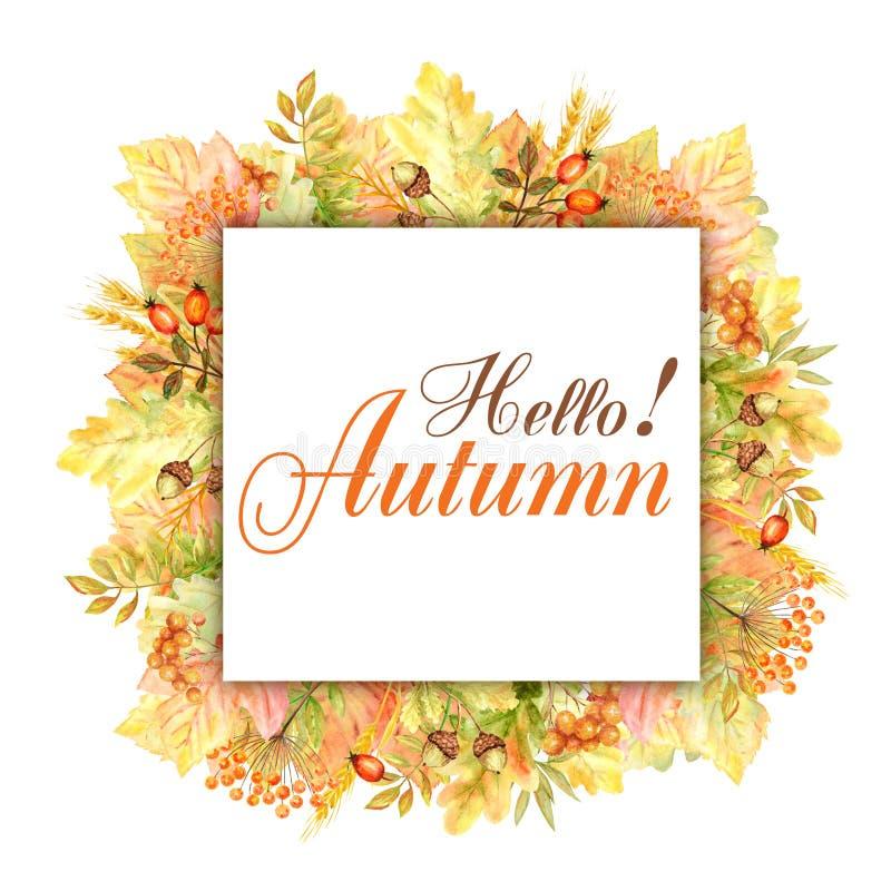 Olá! quadro da folha do outono isolado em um fundo branco Ilustração tirada mão da folha do outono da aquarela fotografia de stock