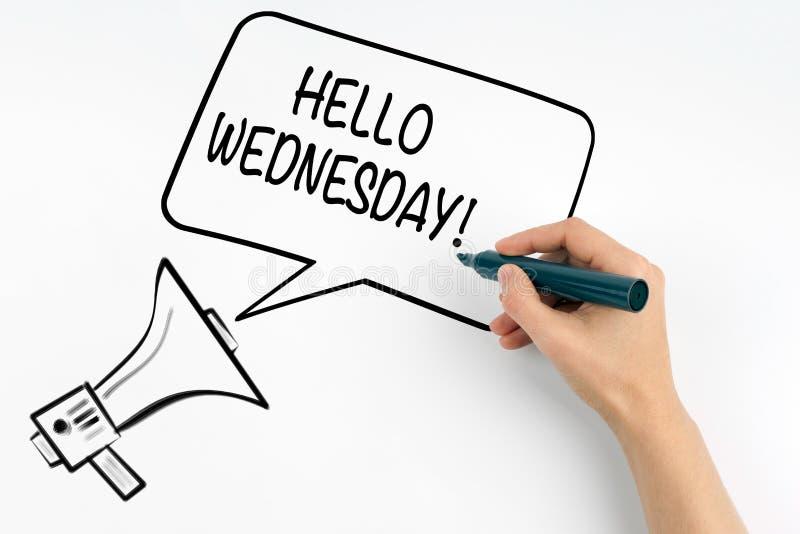 Olá! quarta-feira Megafone e texto em um fundo branco foto de stock royalty free