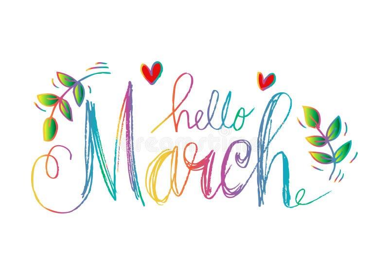 Olá! rotulação de março ilustração stock