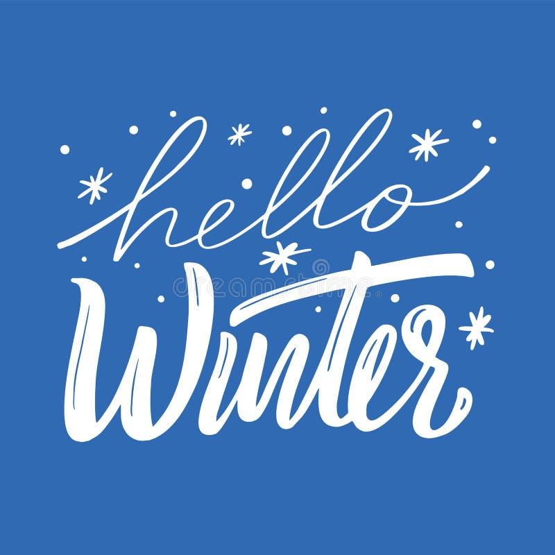 Olá! rotulação do vetor da estação do inverno Ilustração desenhada mão do vetor ilustração do vetor