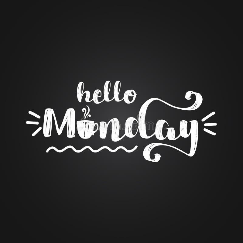 Olá! segunda-feira - projeto de rotulação inspirado ilustração do vetor