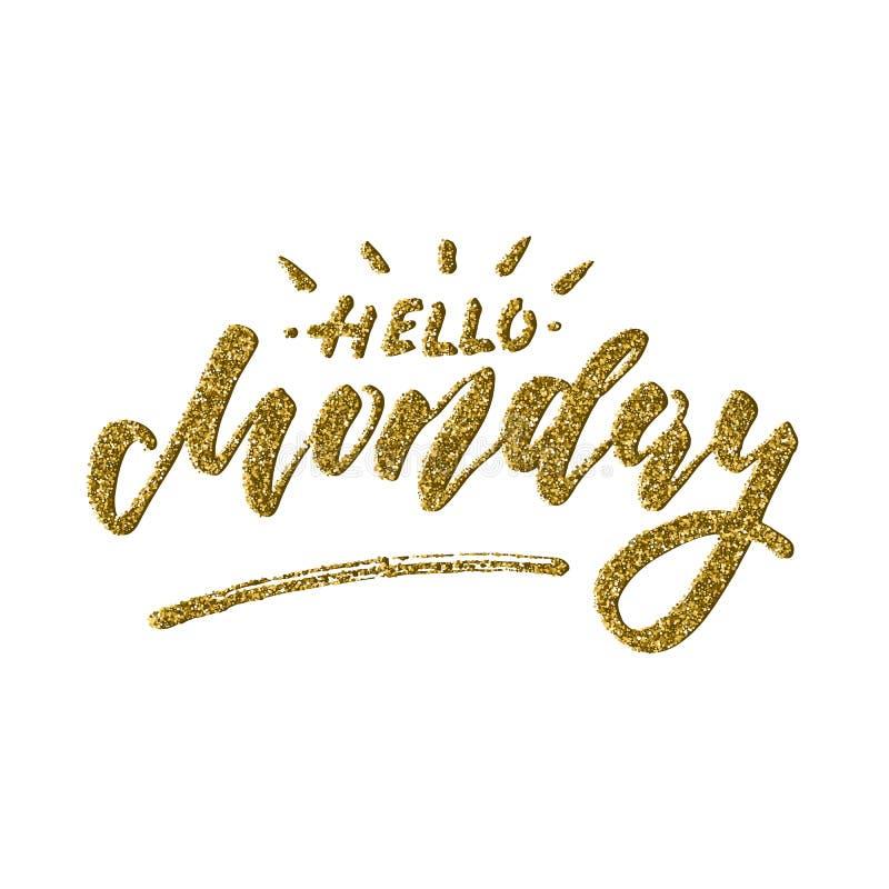 Olá! segunda-feira - projeto de rotulação inspirado ilustração royalty free