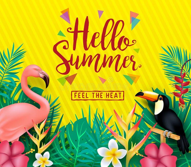 Olá! sensação do verão o cartaz do calor com folhas e as flores tropicais ilustração do vetor