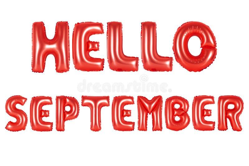 Olá! setembro, cor vermelha fotografia de stock