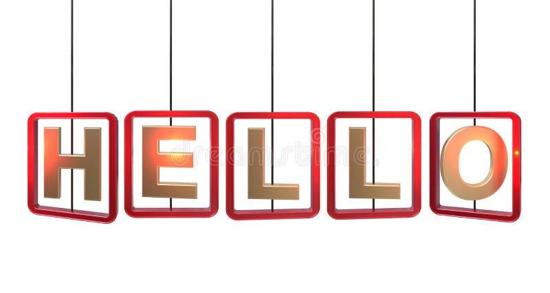 Olá! suspensão das letras ilustração stock