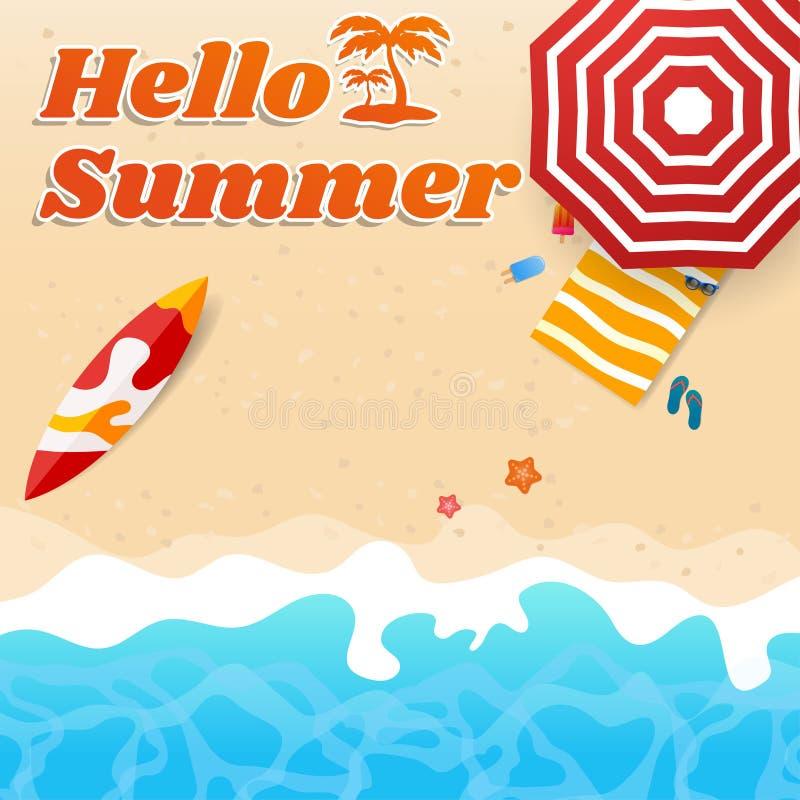 Olá! tema da praia do verão com o guarda-chuva da placa surfando pelo mar ilustração stock