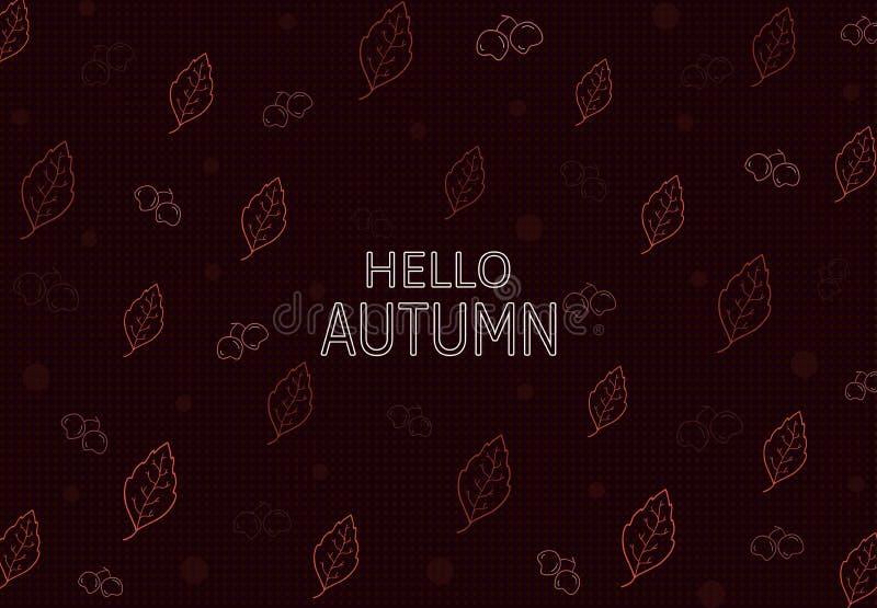 Olá! teste padrão sem emenda do outono com a folha, cerry E fundo da folha imagem de stock