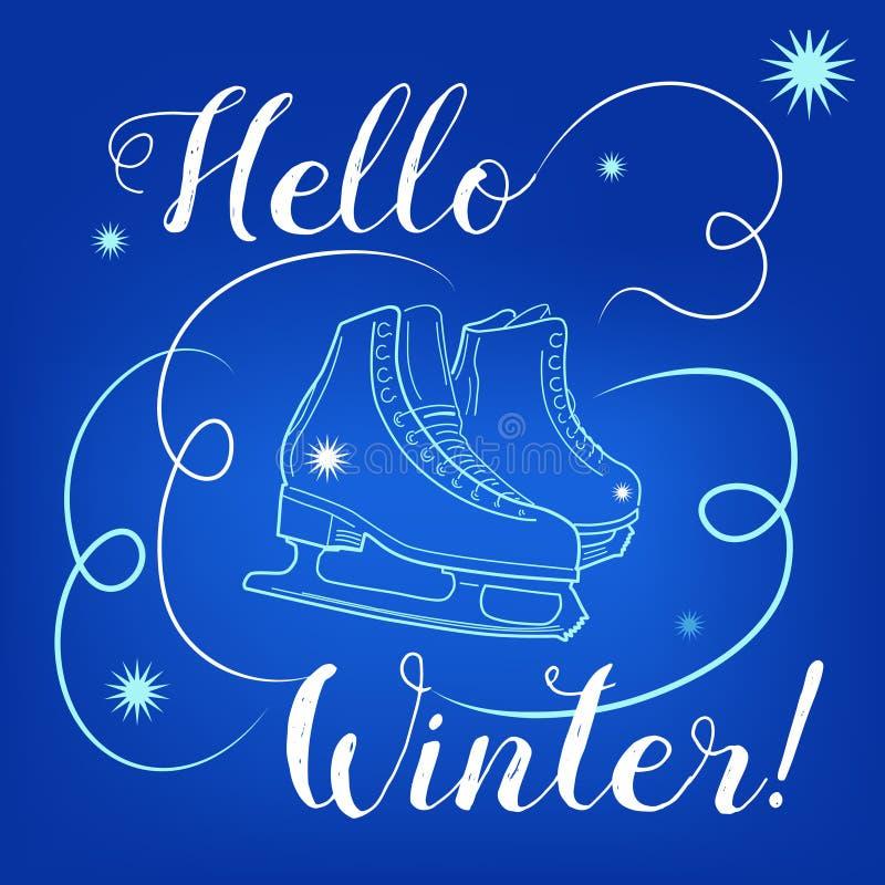 Olá! texto do inverno Escove a rotulação no fundo azul com figura patins e flocos de neve na pista de gelo ilustração do vetor