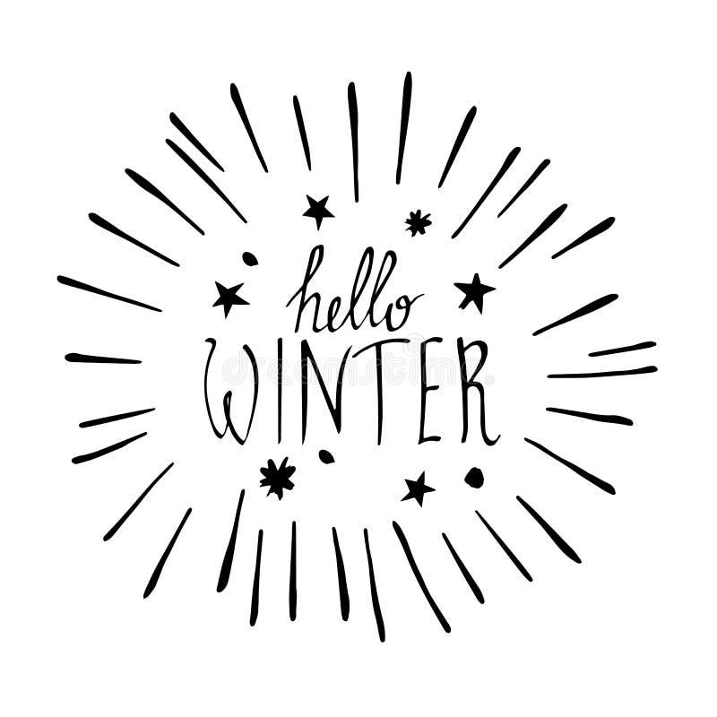 Olá! texto do inverno no fundo vermelho da textura da malha Estação do inverno ilustração royalty free