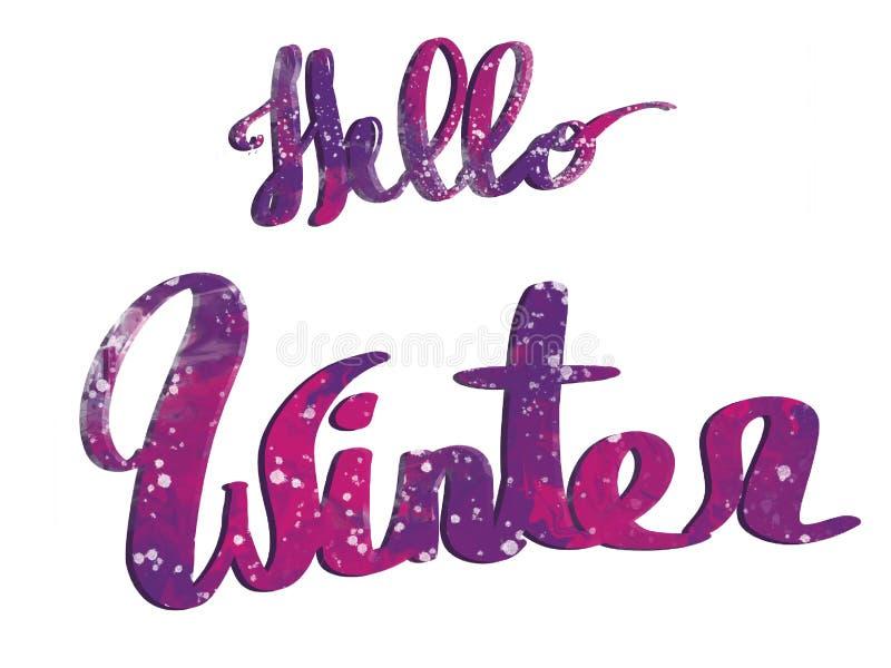 Olá! texto do inverno, sinal colorido escrito mão com neve, isolado ilustração stock