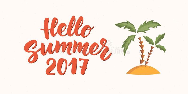Olá! texto do verão com elementos do projeto da praia Palmas no ícone da areia ilustração stock