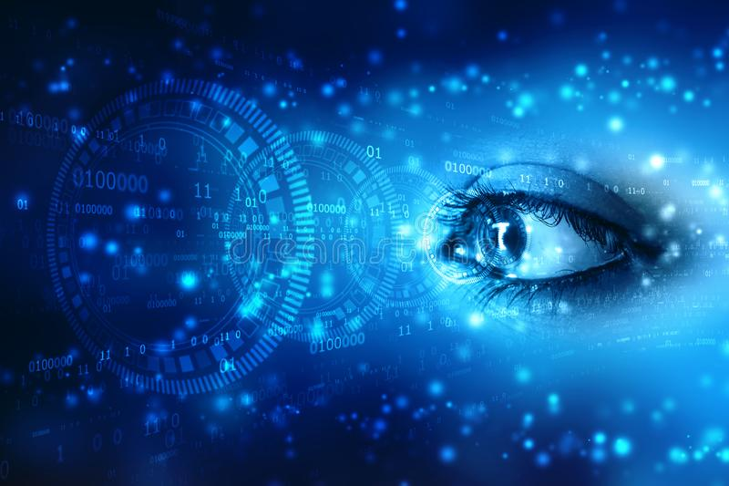 Olá! a varredura biométrica da segurança da tecnologia, fecha-se acima do olho da mulher em processo da exploração com relação di ilustração stock