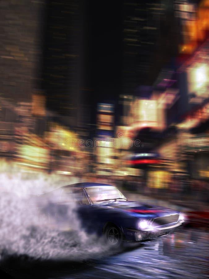 Olá! velocidade que conduz pelas ruas da cidade ilustração royalty free