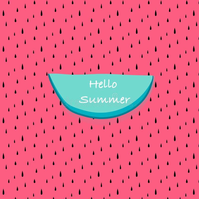 Olá! verão com fundo abstrato do teste padrão da melancia ilustração stock