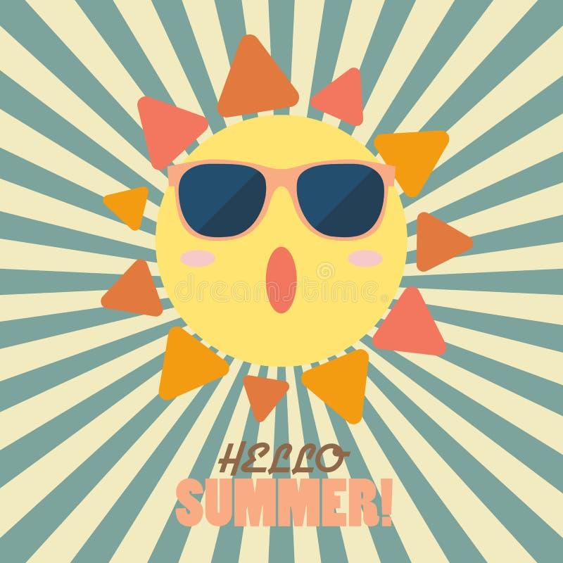 Olá! verão com o sol feliz no teste padrão do sunburst ilustração stock