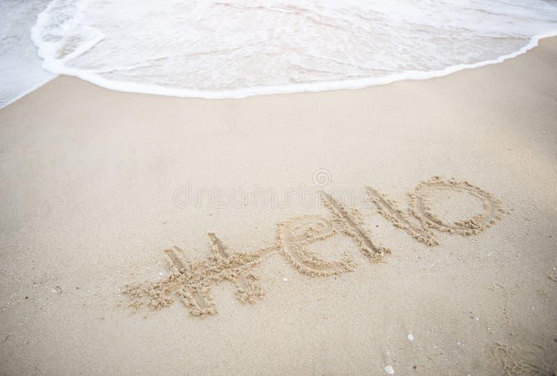 Olá! verão na praia tropical com onda de água férias imagens de stock royalty free