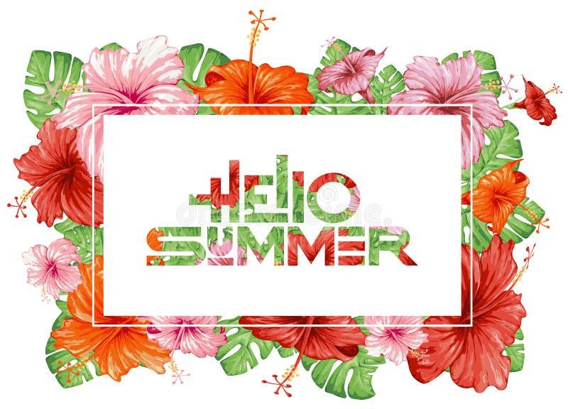Olá! verão Palmas e flores tropicais ilustração do vetor