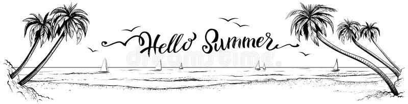 Olá! verão, rotulando com opinião panorâmico da praia Ilustração do vetor ilustração royalty free