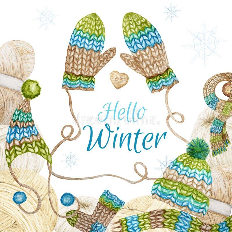 Olá Winter Knitting Shop Logotype Frame, Branding, Avatar, composição de fios, roupas de lã, cachecol, mitten, cap imagem de stock