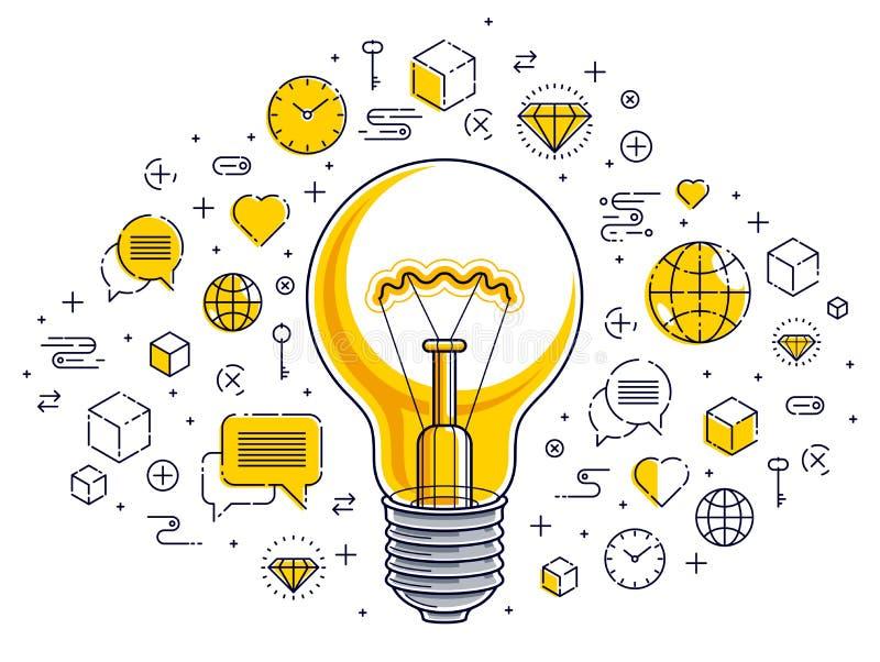 Olśniewająca żarówka i set ikony, biznesowego pomysłu kreatywnie pojęcie, handel elektroniczny alegoria, interneta biznes, rynek  ilustracja wektor