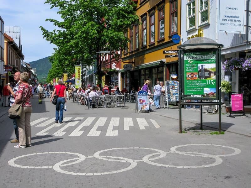 Olímpico assine dentro Lillehammer, Noruega imagem de stock