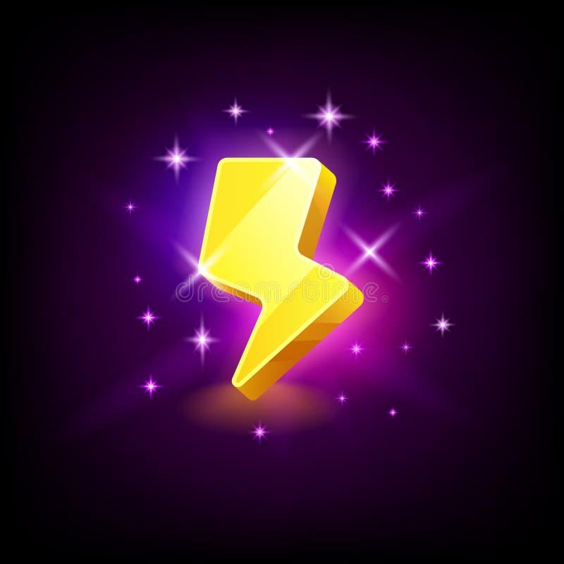Olśniewająca żółta błyskawicowa ikona dla onlinego kasyna lub logo dla mobilnej gry na ciemnym tle, wektorowa ilustracja royalty ilustracja