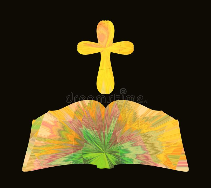 Olśniewająca biblia i krzyż z kreatywnie wzorem na czarnym backgroun royalty ilustracja